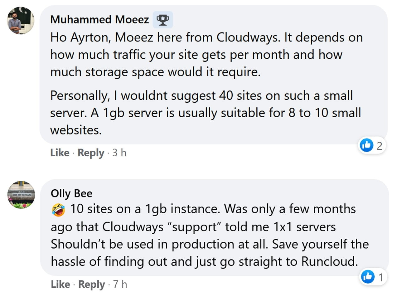 Moez here from Cloudways reply